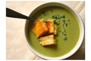 Creamy Asparagus Soup with Grilled Cheese Croutons