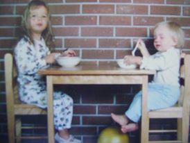 Sisters eating breakfast
