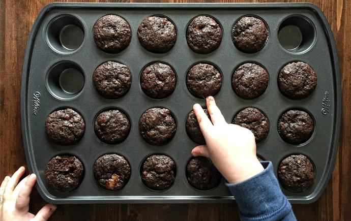Healthy Mini Cocoa Banana Muffins
