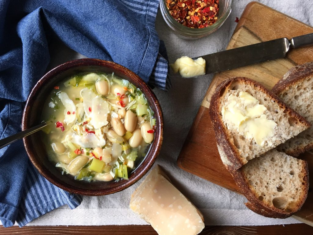 Chicken, White Bean, Leek Soup