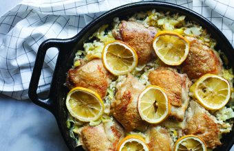 Baked Risotto with Chicken, Leeks & Lemon_feature