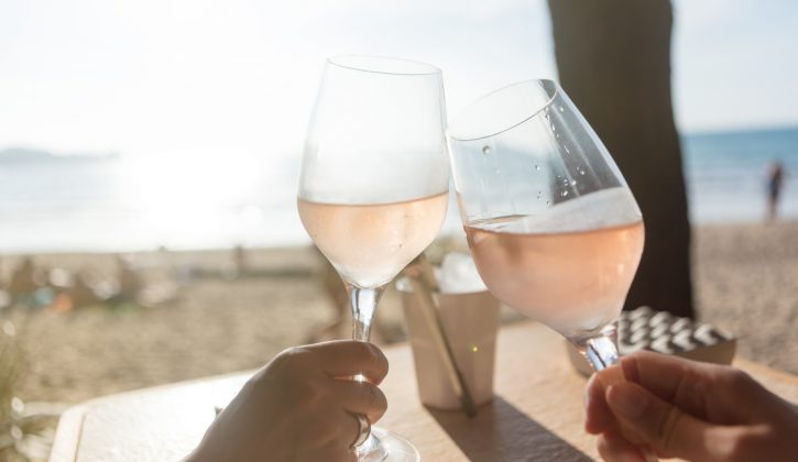 Raising a glass wit rose wine