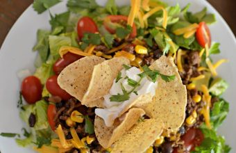 Taco Salad with tortillas, beans and corn