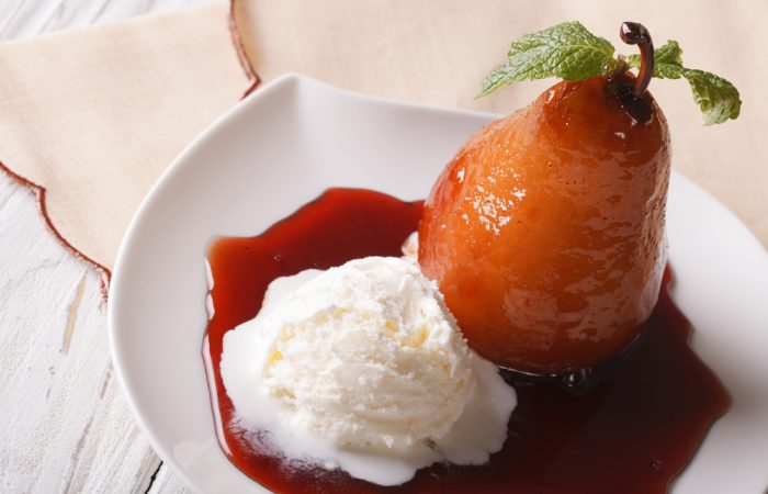 Vanilla and Cinnamon Poached Pear