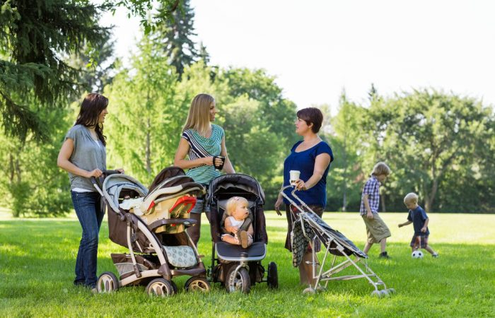 Moms Talking in Park with children