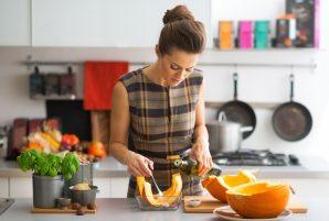 Woman Cooking Pumpkin