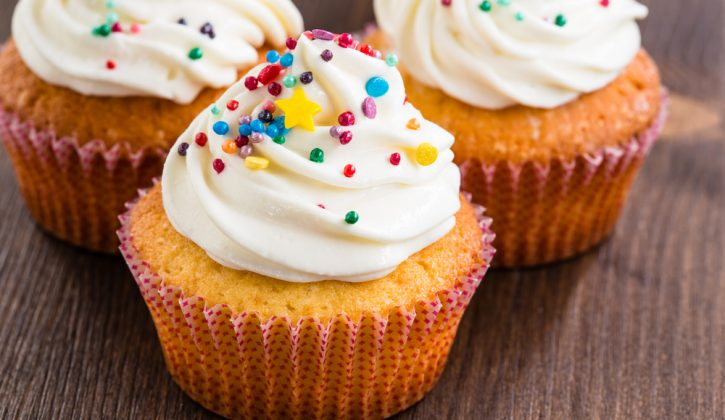 Vanilla Cupcakes with Buttercream Frosting and Sprinkles