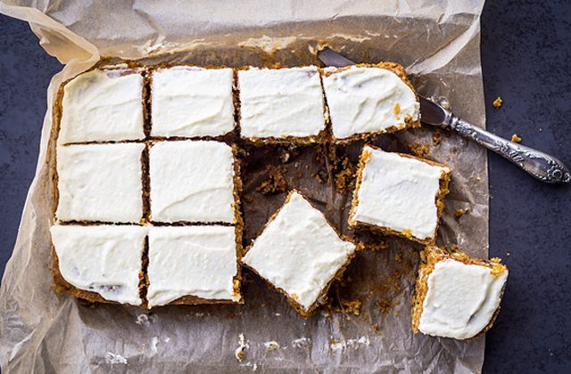 Carrot cake squares with cream cheese frosting