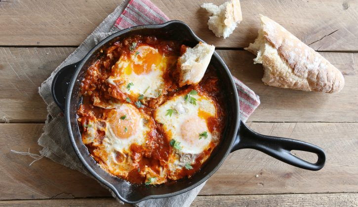 Poached eggs in a spicy tomato sauce, marinara sauce