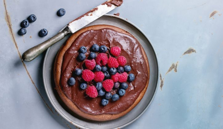 Chocolate Cake with Chocolate Icing and Fresh Berries
