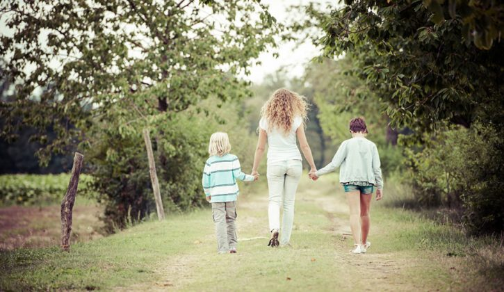 Young-Woman-with-Two-Children-Outside