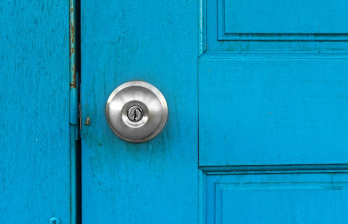 bigstock-Blue-old-door-with-silver-door-52360792