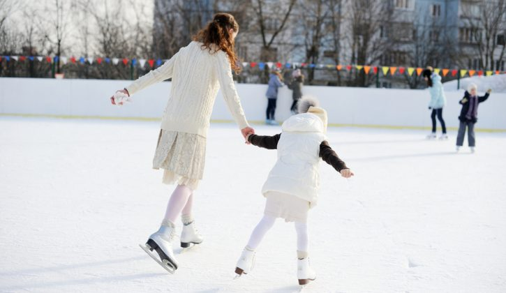 Mother and Daughter Skating Outside