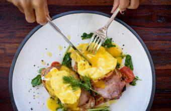 Eggs and Ham Benedict at Brunch