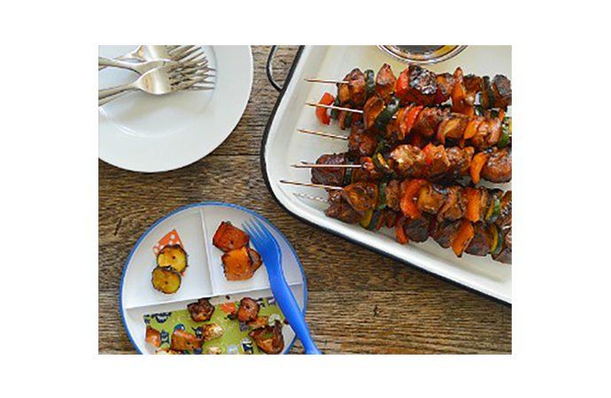 Honey Soy Chicken and Veggie Kebabs