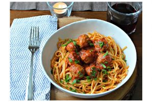Spaghetti with Sausage Meatballs and Marinara Sauce