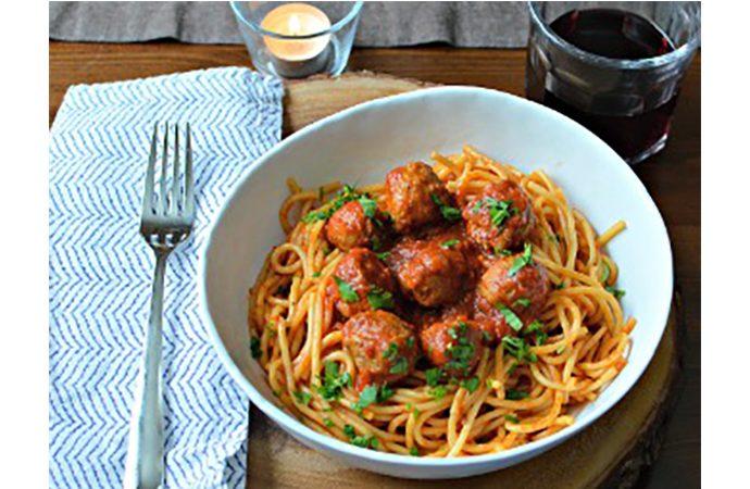 Spaghetti with Sausage Meatballs and Marinara Sauce