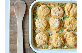 Chicken Pot Pie with Sweet Potato Biscuit Topping