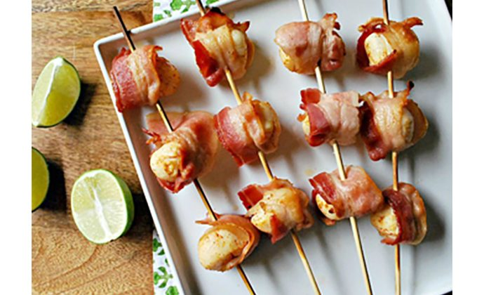 Bacon-Wrapped Scallop Skewers