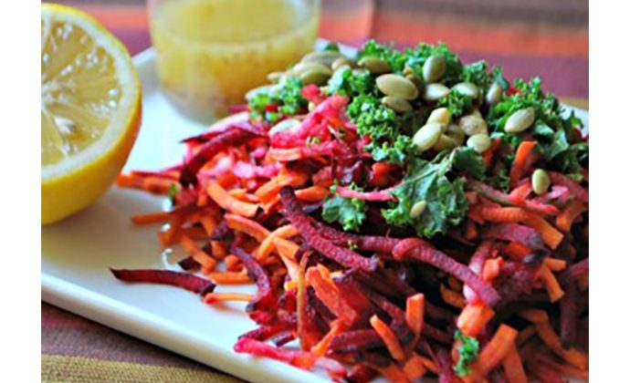 Shredded Beet, Carrot and Green Apple Salad