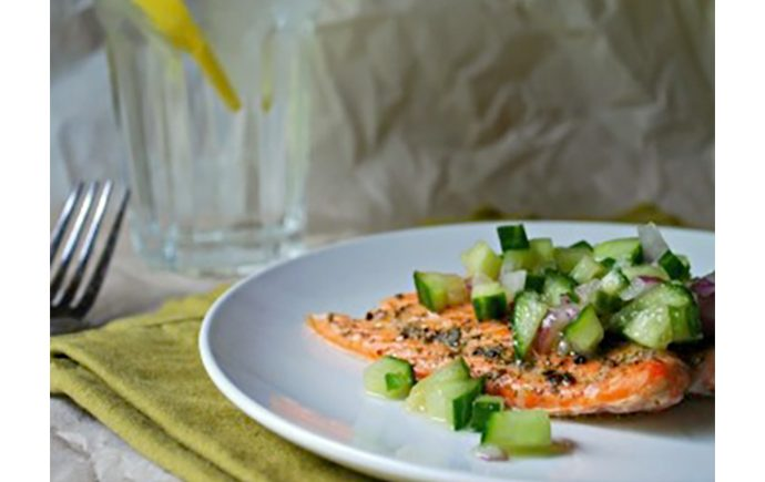 Roasted Salmon with Fresh Cucumber Salsa