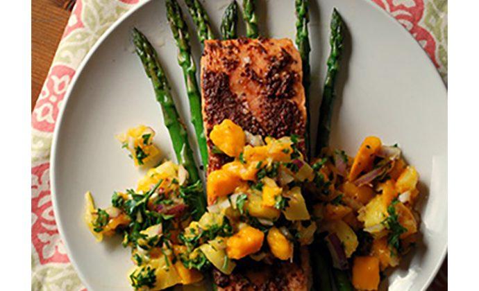 Jerk Salmon with Mango-Pineapple Salsa