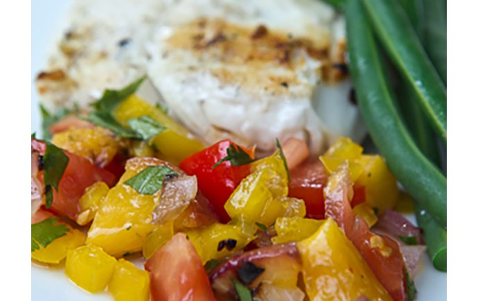 Grilled Halibut with Peach Salsa