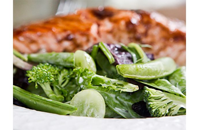 Mixed Green Veggie Salad with Salmon