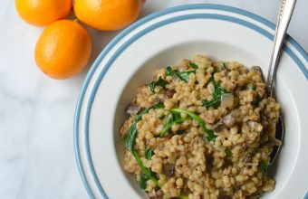 Sausage and Mushroom Barley Risotto in the slow cooker
